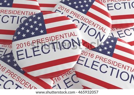 Pile Of US Presidential Election 2016 Badges, 3d illustration #465932057
