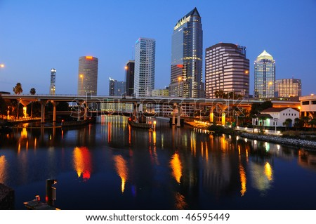 Downtown Tampa Skyline Reflection at Night