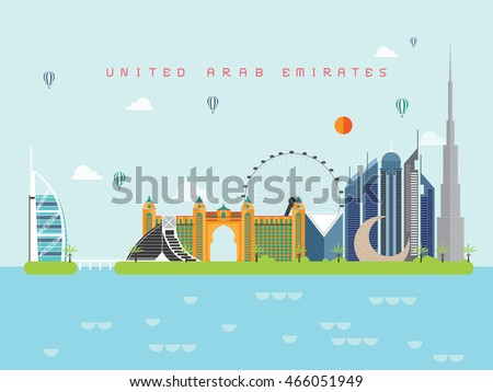 United Arab Emirates Famous Landmarks Infographic Templates for Traveling Minimal Style and Icon, Symbol Set Vector Illustration Can be use for Poster Travel book, Postcard, Billboard. #466051949