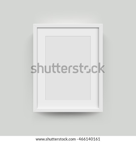 A3, A4 vertical blank picture frame for photographs. Vector realisitc paper or plastic white picture-framing mat with wide borders shadow. Isolated picture frame mockup template on gray background Royalty-Free Stock Photo #466140161