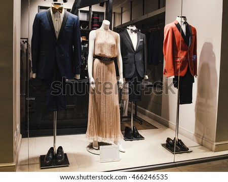 Fashion store with men and women clothes #466246535