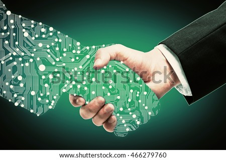 Businessman shaking digital partners hand on green background Royalty-Free Stock Photo #466279760