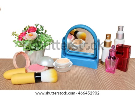 mirror and cosmetic tool ,isolate white background with clipping path #466452902