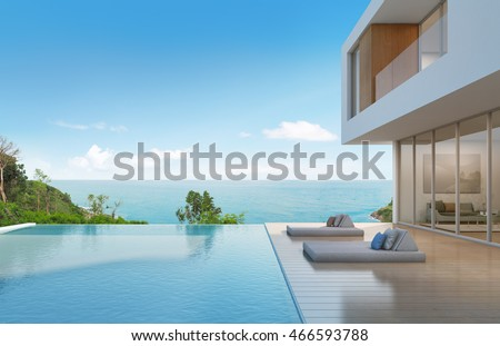 Beach house with pool in modern design - 3d rendering #466593788