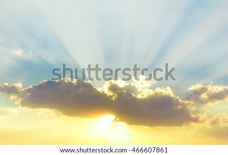 Sunset Sky With Lighted Clouds  #466607861