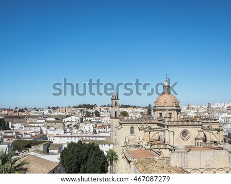 Aerial view of the city Jerez de la Frontera, Andalusia, Spain, with the cathedral San Salvador #467087279