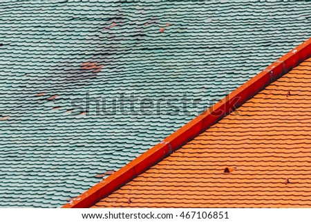 Green and red roof tiles #467106851