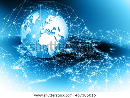 Globe, glowing lines on technological background. Electronics, Wi-Fi, rays, symbols Internet, television, mobile and satellite communications.  3D illustration #467305016