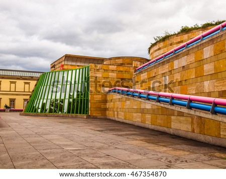 STUTTGART, GERMANY - JULY 14, 2012: The Neue Staatsgalerie art gallery is a masterpiece of postmodern architecture designed by British architect Sir James Stirling in 1977 (HDR) #467354870