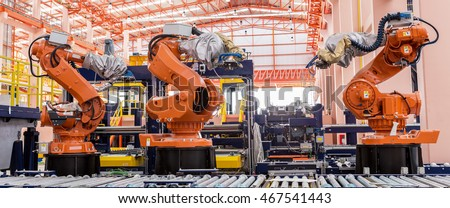 Industrial welding robots in production line manufacturer factory #467541443