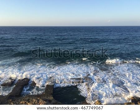 Rock cut swimming baths on the Mediterranean coast #467749067