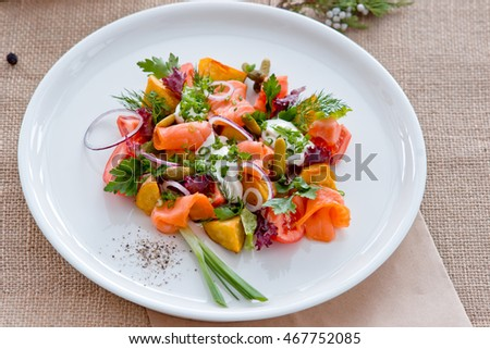salad with fish and tomato, with greens #467752085