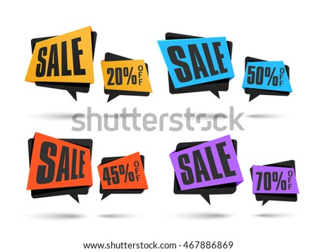 Set of creative Sale and Discounts Tags on white background, Vector illustration. #467886869