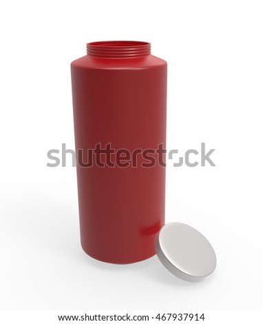 3D long Red bottle open lid #467937914