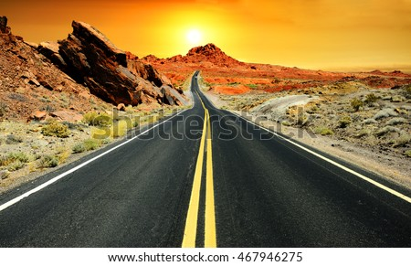 Valley of Fire at sunset, Nevada Royalty-Free Stock Photo #467946275