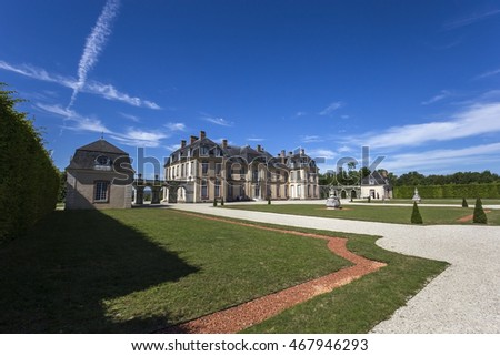 LA MOTTE TILLY, FRANCE, AUGUST 07, 2016 : exteriors and gardens of La Motte Tilly castle, august 07, 2016 in La Motte Tilly, Aube, France #467946293