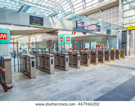 TURIN, ITALY - MARCH 11, 2014: Passengers in the new Torino Porta Susa main railway and subway station (HDR) #467966282
