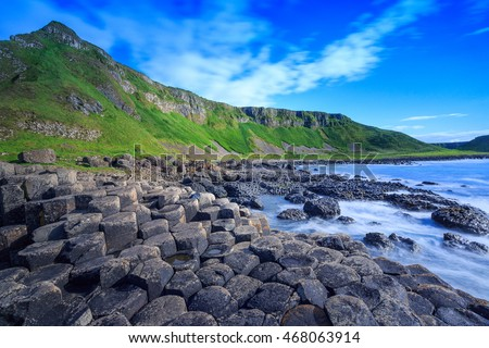 Giant's Causeway, the nature hexagon stones in Northern Ireland. Royalty-Free Stock Photo #468063914