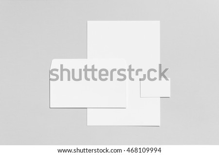 Branding / Stationery Mock-Up - White - Letterhead (A4), DL Envelope, Business Card (85x55mm)
