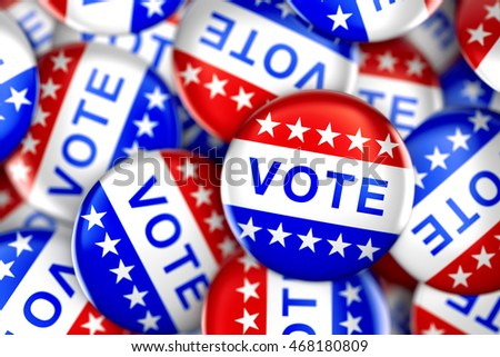 Vote button in red, white, and blue with stars - 3d rendering #468180809