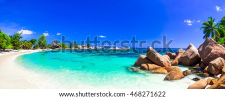 amazing tropical holidays in paradise beaches of Seychelles,Praslin Royalty-Free Stock Photo #468271622