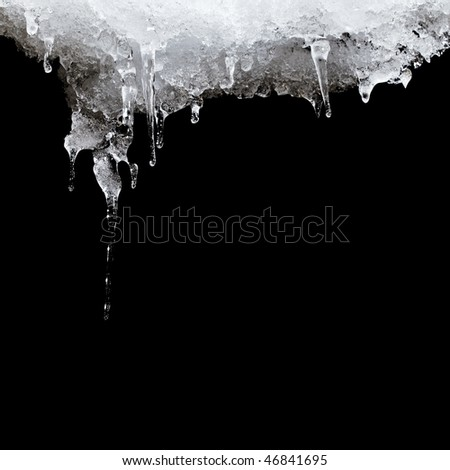 melting ice hanging from the roof. isolated on black Royalty-Free Stock Photo #46841695