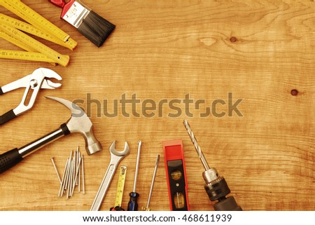 Assorted work tools on wood #468611939