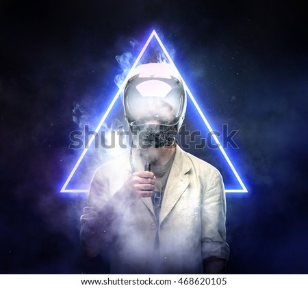 Male in astronaut space helmet smoking electronic cigarette over blue neon hipster triangle background.