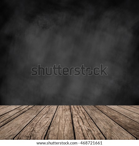 chalk board background wall texture with old vintage aged old wood perspective for advertise product on display #468721661