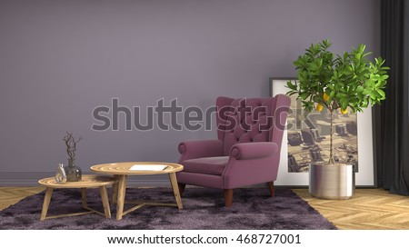 interior with chair. 3d illustration #468727001