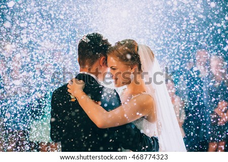 First wedding dance of newlywed Royalty-Free Stock Photo #468774323