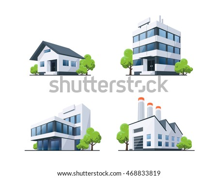 Four vector buildings illustrations in perspective view with green trees in cartoon style. Family house, work office and factory building. Royalty-Free Stock Photo #468833819