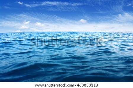 Blue sea water surface on sky #468858113