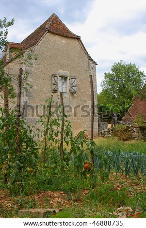 Very old house with little kitchen garden, france #46888735