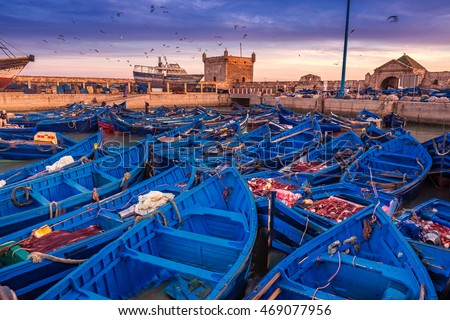Essaouira port in Morocco. Shot  after sunset at blue hour. #469077956