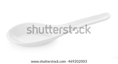 White Chinese soup spoon isolated on white background #469202003