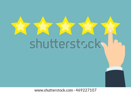 Giving rating stars. Ranking business with fave golden stars. Tick star. Having feedback, reputation and quality. #469227107