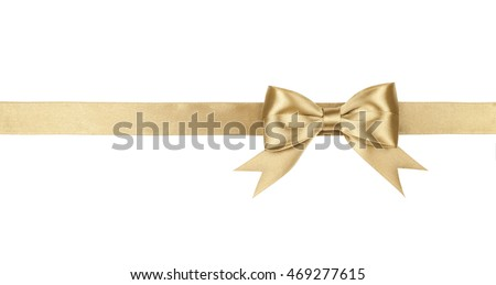 Gold bow isolated on white background. #469277615