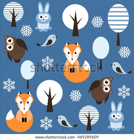 winter forest with animals. Raster version