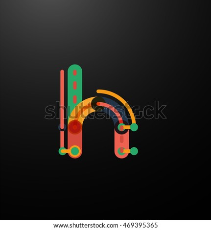 Company branding logo of initial letters on black. Flat cartoon industrial wire or tube design of ABC typeface #469395365