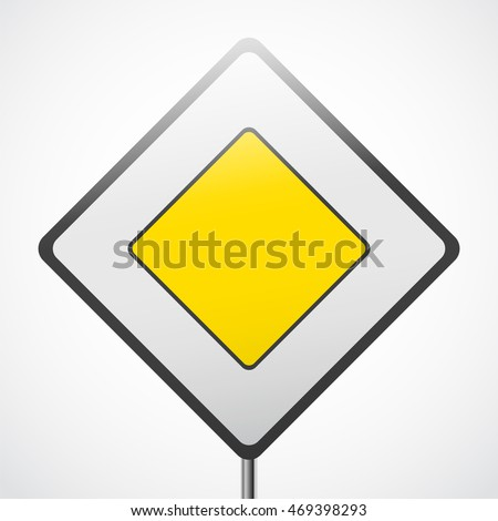 Road priority sign. Main road vector illustration. #469398293