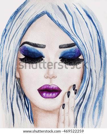 Woman face with hand. Fashion. Watercolor Illustration #469522259