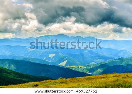 Picturesque Carpathian mountains landscape, view from the height, Chornogora ridge, Ukraine #469527752