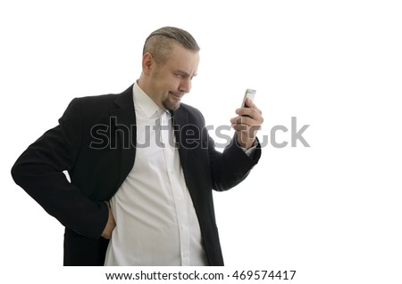 businessman wearing a jacket looking at the phone screen isolated on white background #469574417