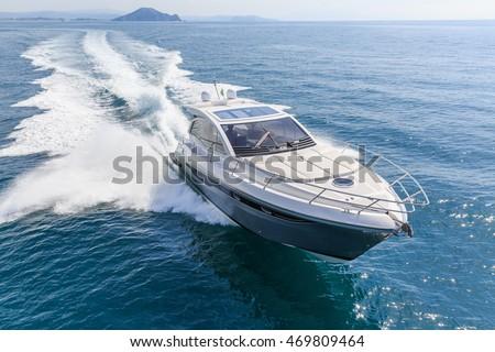 luxury motor boat, rio yachts italian shipyard Royalty-Free Stock Photo #469809464