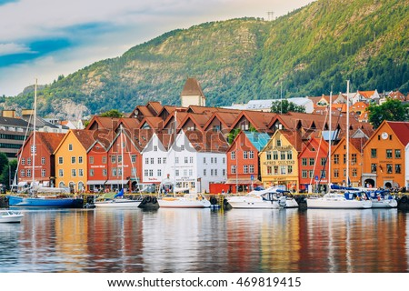 Bergen, Norway - August 3, 2014: View of historical buildings in Bryggen- Hanseatic wharf in Bergen, Norway. UNESCO World Heritage Site #469819415