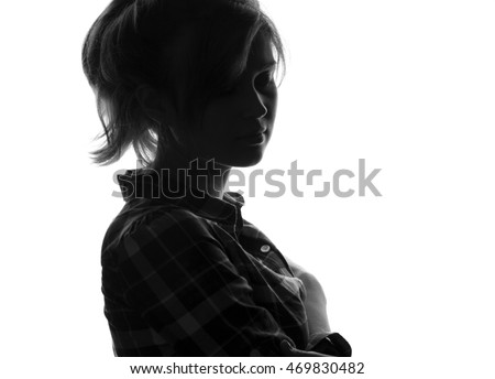 silhouette unknown girl face, black and white sad woman on white isolated background #469830482
