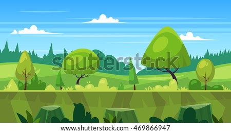Background for games apps or mobile development. Cartoon nature landscape with forest. Vector illustration for design graphics print or book . Stock illustration. #469866947