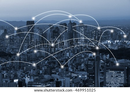 tokyo  cityscape and network connection concept #469951025