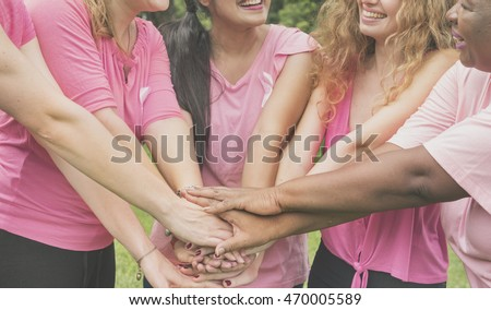 Join Hands Cancer Campaign Care Charity Union Concept